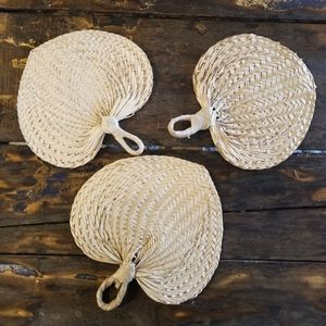 Set of 3 Woven Wicker Fans wall Display